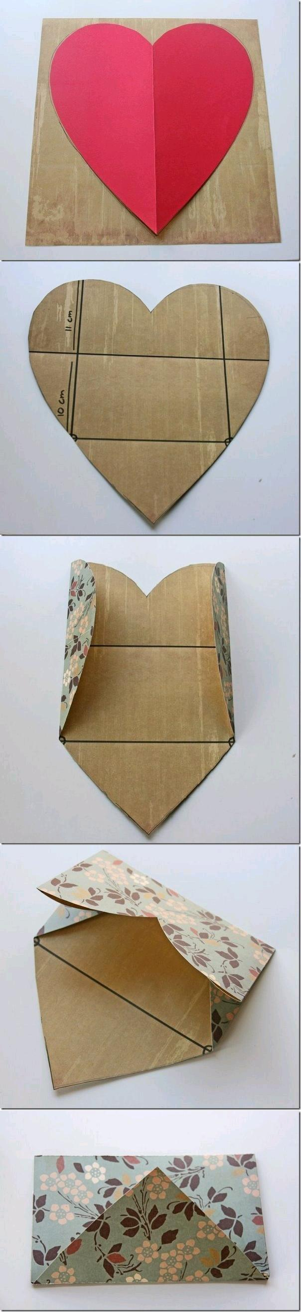 DIY Easy Envelope from Heart Shaped Paper 1