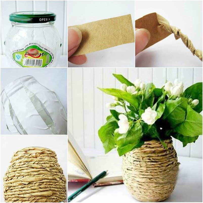 DIY Kraft Paper Decorated Flower Vase thumb