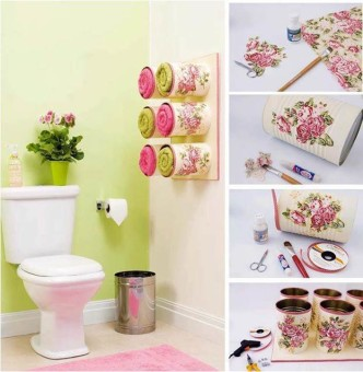 DIY Pretty Towel Storage Boxes from Tin Cans