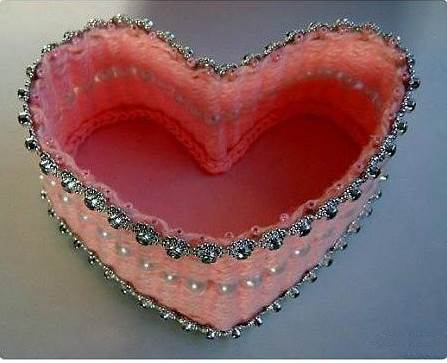 DIY Pretty Yarn Woven Heart Shaped Basket 6