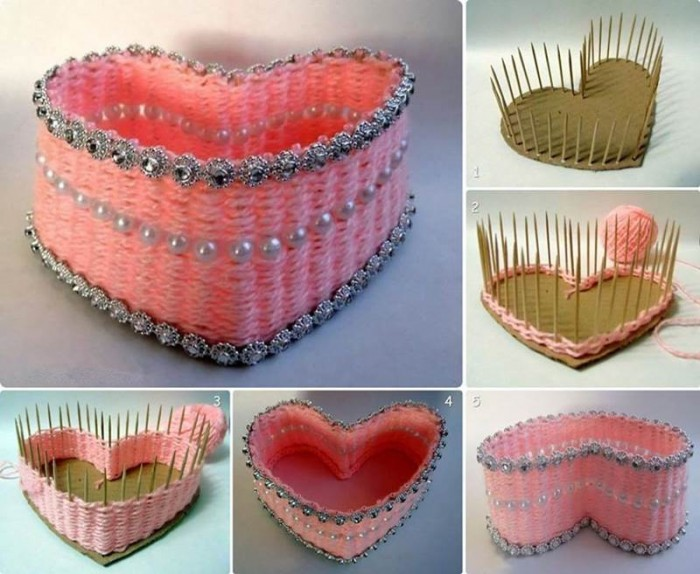DIY Pretty Yarn Woven Heart Shaped Basket