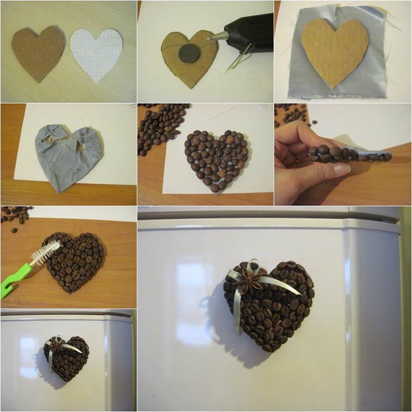 Diy Heart Shaped Coffee Bean Fridge Magnet Good Home Diy