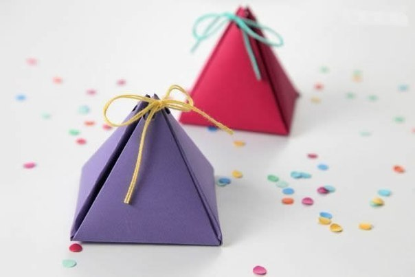 Diy pyramid favor boxes : Diy cute simple pyramid gift box good home