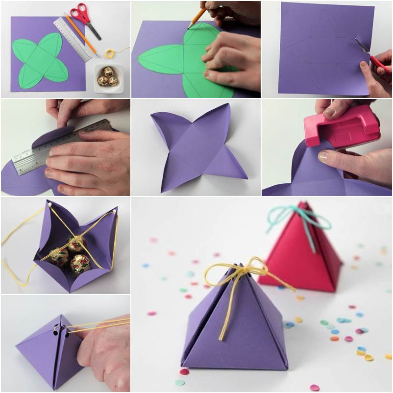 DIY Cute Simple Pyramid Gift Box