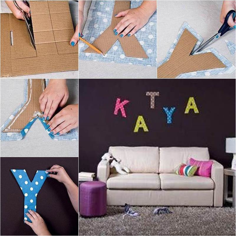 DIY Easy Cardboard Letter Wall Decals