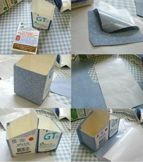 DIY Milk Carton Desk Organizer 3