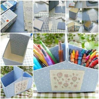 DIY Milk Carton Desk Organizer