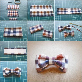 DIY Pretty Plaid Bow Hair Clip