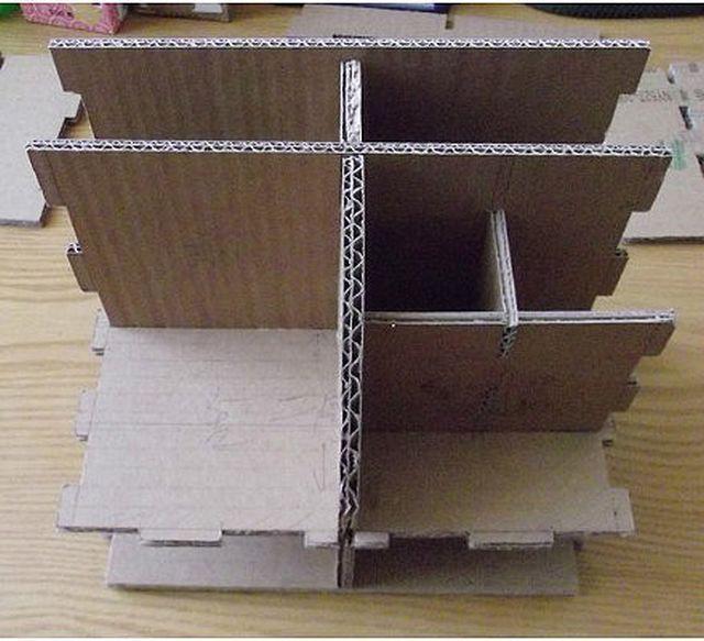 DIY Cardboard Desktop Organizer with Drawers 2