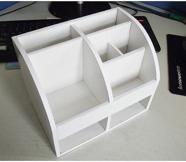 DIY Cardboard Desktop Organizer with Drawers 6