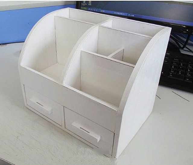 Diy cardboard desktop organizer with drawers good home diy for Cardboard drawers ikea