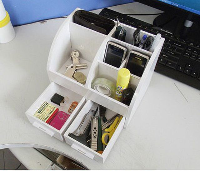 Diy Cardboard Desktop Organizer With Drawers Good Home Diy