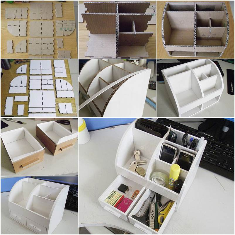 Diy cardboard desktop organizer with drawers - Desk organizer diy ...