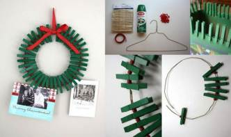 DIY Christmas Wreath Photo Frame with Clothespins