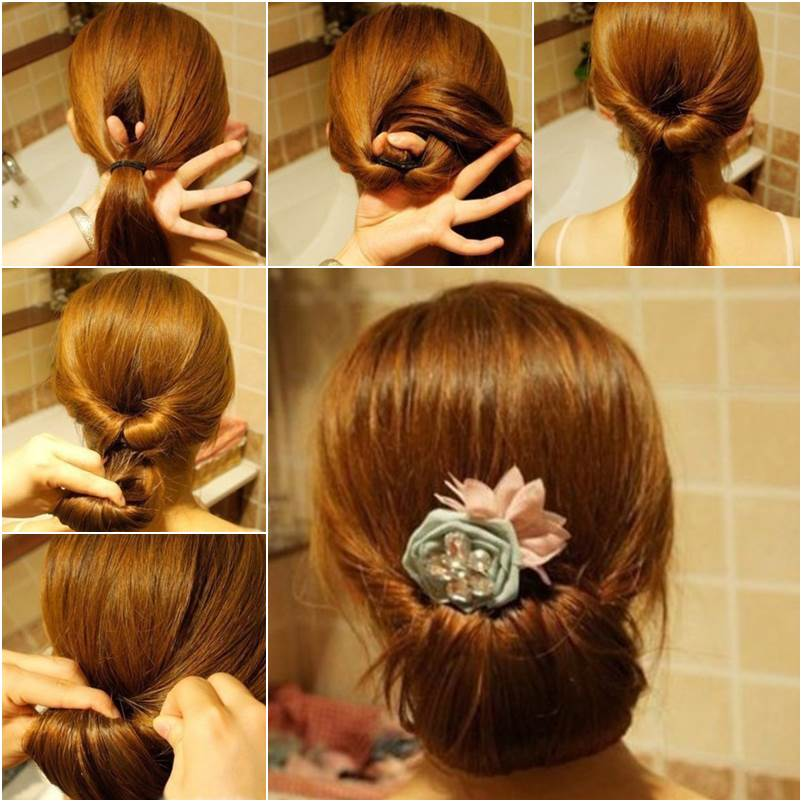 Hairstyle Bun : DIY Easy Twisted Hair Bun Hairstyle GoodHomeDIY.com