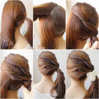 DIY Easy Twisted Side Ponytail Hairstyle