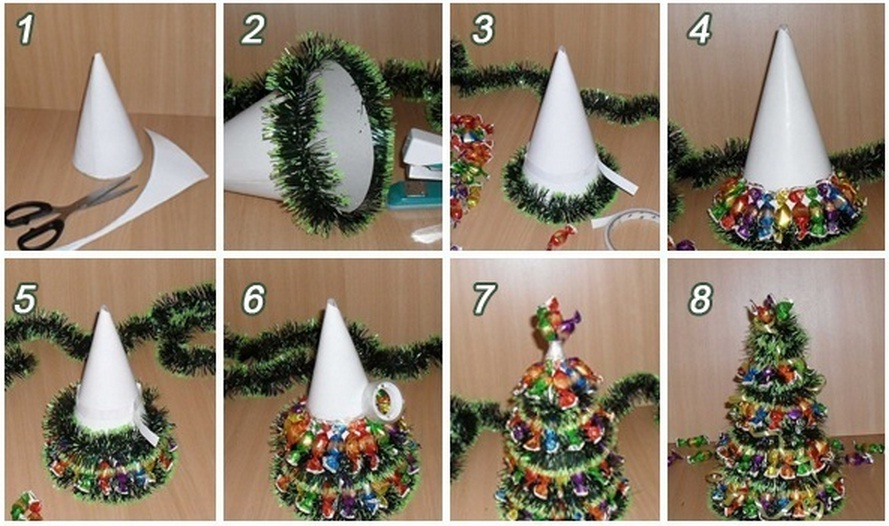 DIY Mini Christmas Tree with Chocolates and Tinsel | Good Home DIY