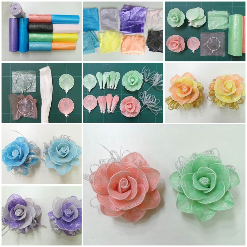 DIY Pretty Roses from Plastic Bags