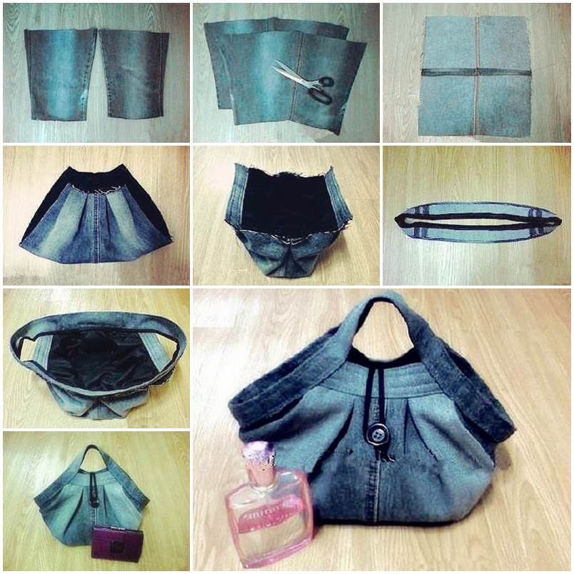 Diy stylish handbag from old jeans good home diy for How to make designer bags at home