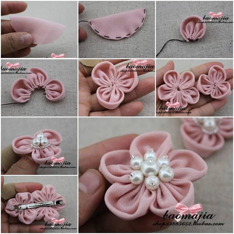 DIY Beautiful Fabric Flower Hair Clip