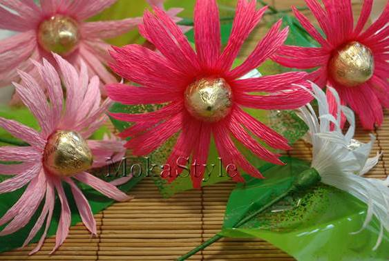 How To Make Chocolate Flower Basket : Diy crepe paper chocolate gerbera flower bouquet good