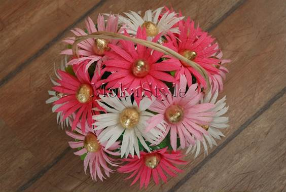 DIY Crepe Paper Chocolate Gerbera Flower Bouquet 14