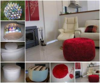 DIY Simple Ottoman from Recycled Plastic Bottles