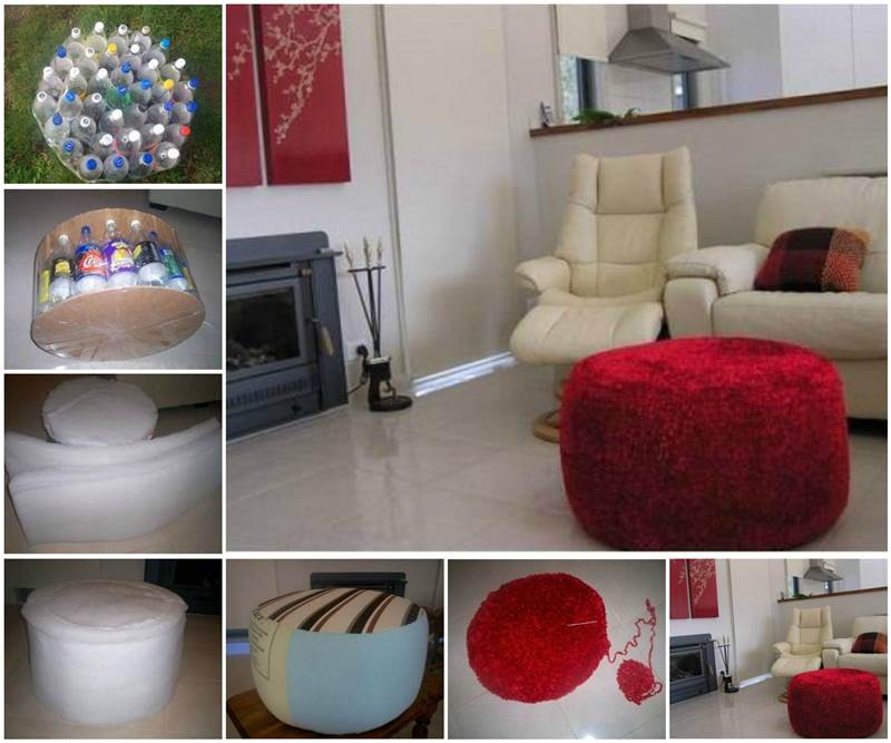 Diy Simple Ottoman From Recycled Plastic Bottles Good
