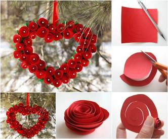 DIY Heart Shaped Paper Rose Valentine Wreath