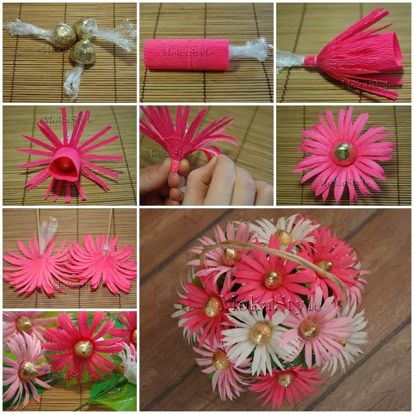 Diy Crepe Paper Chocolate Gerbera Flower Bouquet